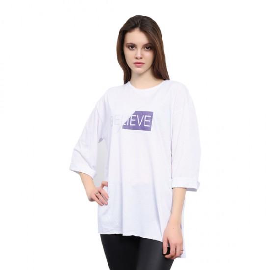 W Story Kadın Baskılı Dublekol Tunik T-shirt Beyaz