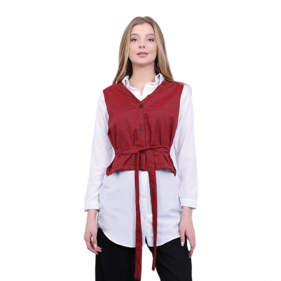 W Story Kadın Ekose Yelekli Gömlek