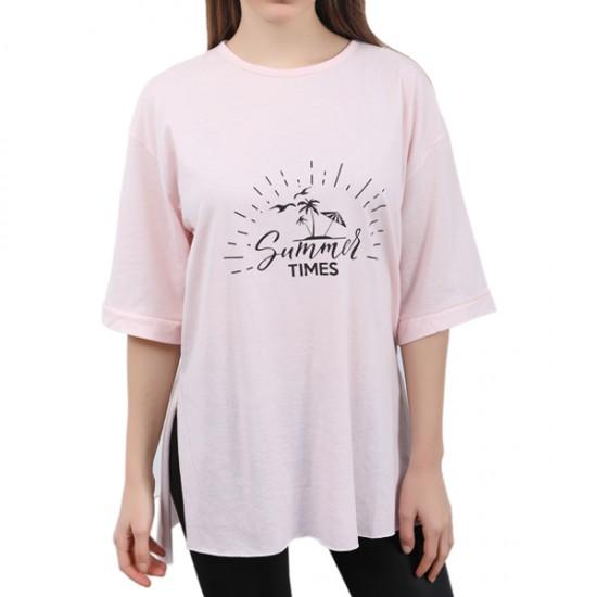 W Story Kadın Pudra Baskılı Dublekol, Tunik - T-shirt