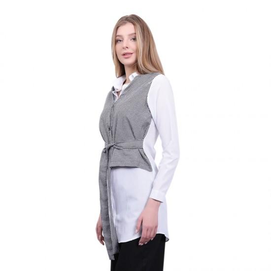 W Story Kadın Ekose Trikoten Kumaş Gömlek