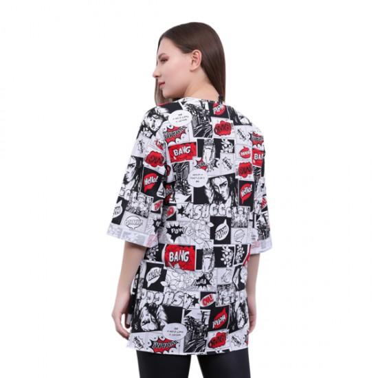 W Story Tam Baskılı, Dublekol, Tunik - T-shirt