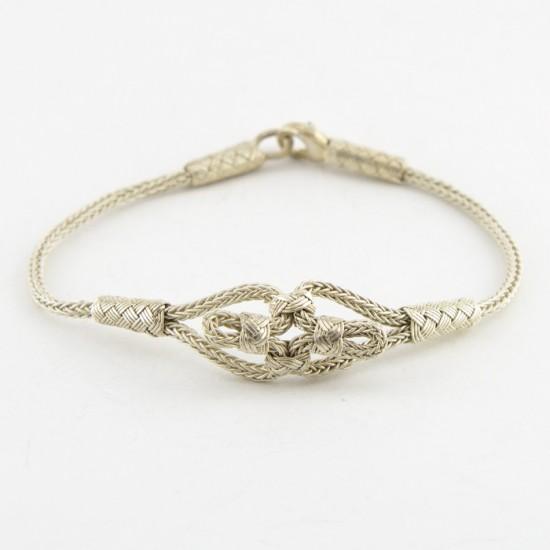 Gümüş Kazaziye Bileklik - Kelebek Düğümü